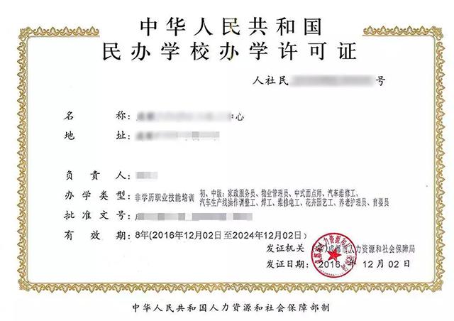 民办高校办学许可证